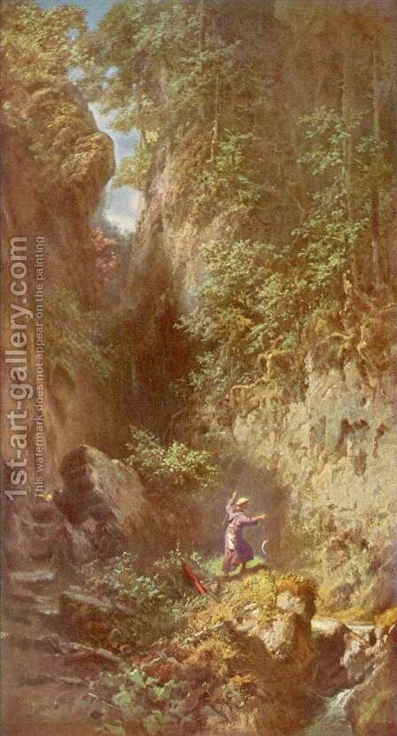 Trout fishing (Forellenangler) by Carl Spitzweg - Reproduction Oil Painting