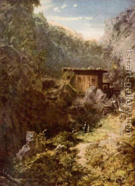 Mountain mill (Gebirgsmühle) by Carl Spitzweg - Reproduction Oil Painting