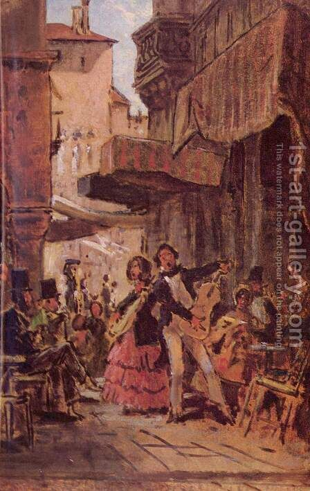 Italian street singers by Carl Spitzweg - Reproduction Oil Painting