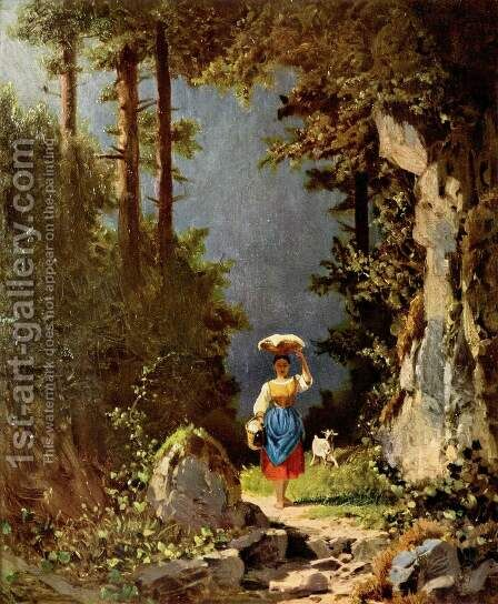 Girl with goat by Carl Spitzweg - Reproduction Oil Painting