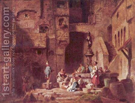 Washerwomen at the Well (Wascherinnen am Brunnen) by Carl Spitzweg - Reproduction Oil Painting