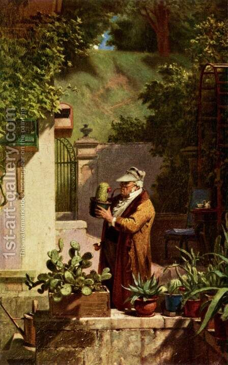 The cactus friend by Carl Spitzweg - Reproduction Oil Painting