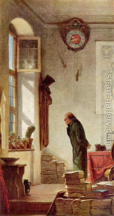 The cactus enthusiast by Carl Spitzweg - Reproduction Oil Painting
