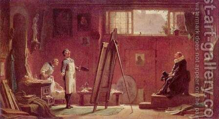 The Portrait Painter by Carl Spitzweg - Reproduction Oil Painting