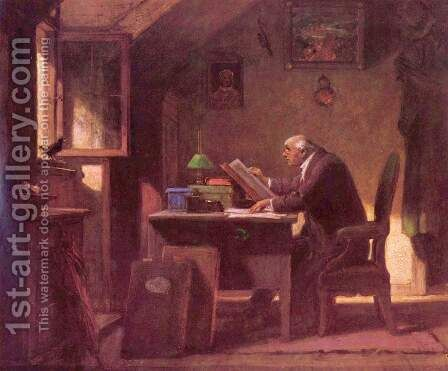 A visit by Carl Spitzweg - Reproduction Oil Painting