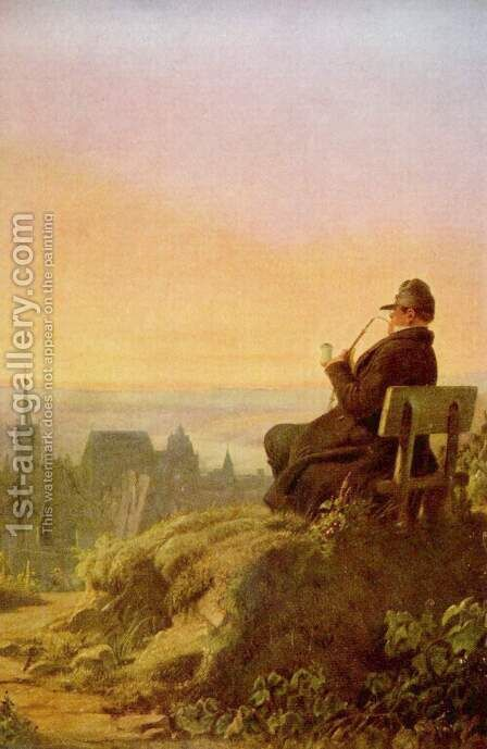Resting on the vineyard by Carl Spitzweg - Reproduction Oil Painting