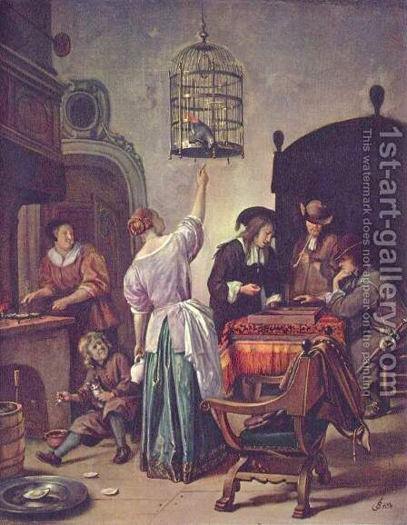 Parrot Cage by Jan Steen - Reproduction Oil Painting