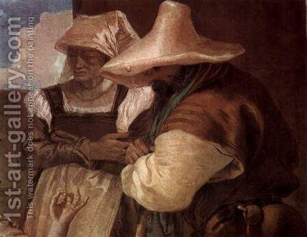 Frescoes in the Villa Valmarana, Vicenza, Angelica and Medor scene accompanied by two farmers, peasant couple Detail by Giovanni Domenico Tiepolo - Reproduction Oil Painting
