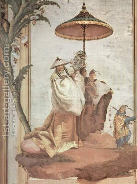 Frescoes in the Villa Valmarana, Vicenza, landscape scene with a mandarin tree by Giovanni Domenico Tiepolo - Reproduction Oil Painting