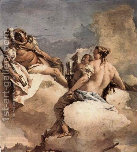 Frescoes in the Villa Valmarana, Vicenza, scene Mars, Venus and Cupid by Giovanni Domenico Tiepolo - Reproduction Oil Painting