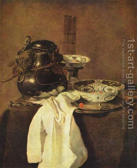 Still life with a tin can and two porcelain bowls by Jan Jansz. Treck - Reproduction Oil Painting