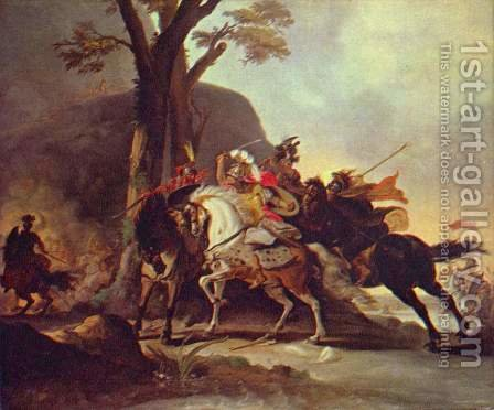 Alexander the Great in the Battle of the Granicus by Cornelis Troost - Reproduction Oil Painting