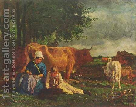 Shepherd scene by Constant Troyon - Reproduction Oil Painting