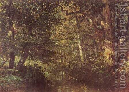 Water running in the woods by Constant Troyon - Reproduction Oil Painting