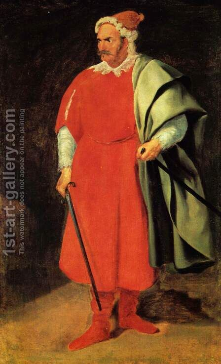 Portrait of the court jester of Barbarossa by Velazquez - Reproduction Oil Painting