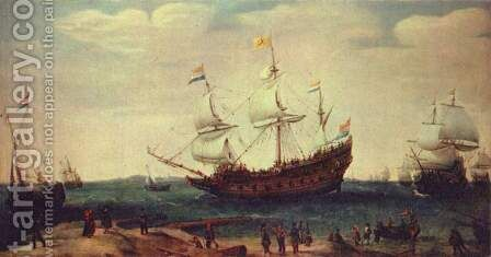 Leaving of the east India sailors by Cornelis Hendricksz. The Younger Vroom - Reproduction Oil Painting