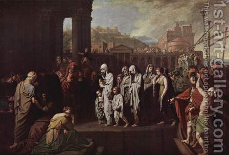 Agrippina Landing at Brundisium with the Ashes of Germanicus by Benjamin West - Reproduction Oil Painting