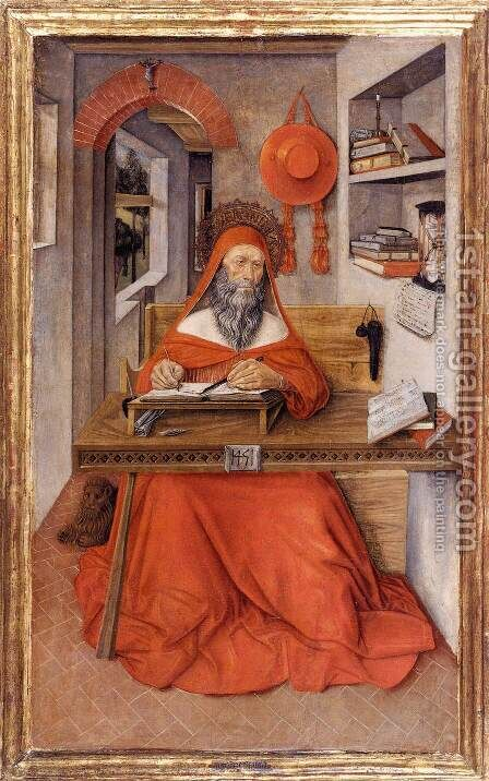 St Jerome in His Study by Antonio Da  Fabriano - Reproduction Oil Painting