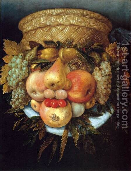 Reversible Head with Basket of Fruit 2 by Giuseppe Arcimboldo - Reproduction Oil Painting