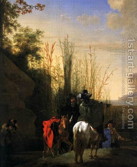 Coastal Scene with Resting Riders (detail) by Jan Asselyn - Reproduction Oil Painting