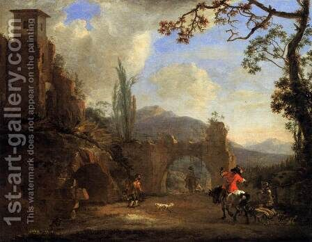 Landscape with Ruins and Hunting Party by Jan Asselyn - Reproduction Oil Painting