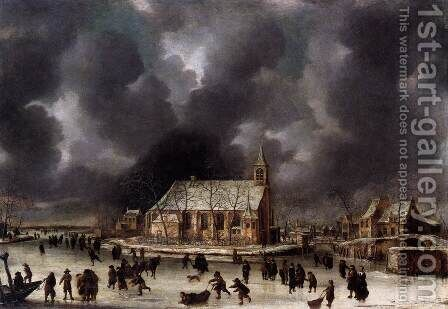 Skating at Sloten, near Amsterdam by Jan Abrahamsz. Beerstraten - Reproduction Oil Painting