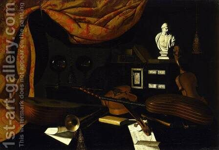Musical Instruments with Two Glass Spheres and a Male Bust by Bartolomeo Bettera - Reproduction Oil Painting
