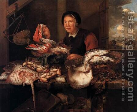 The Fishmonger by Abraham Hendrickz Van Beyeren - Reproduction Oil Painting