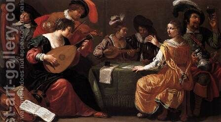 Music-making Company by Jan Van Bijlert - Reproduction Oil Painting