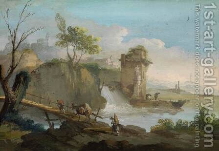 Landscape with Travellers by Giuseppe Bernardino Bison - Reproduction Oil Painting
