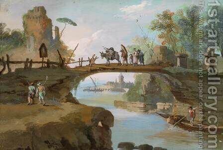 Landscape with Figures and a Bridge by Giuseppe Bernardino Bison - Reproduction Oil Painting