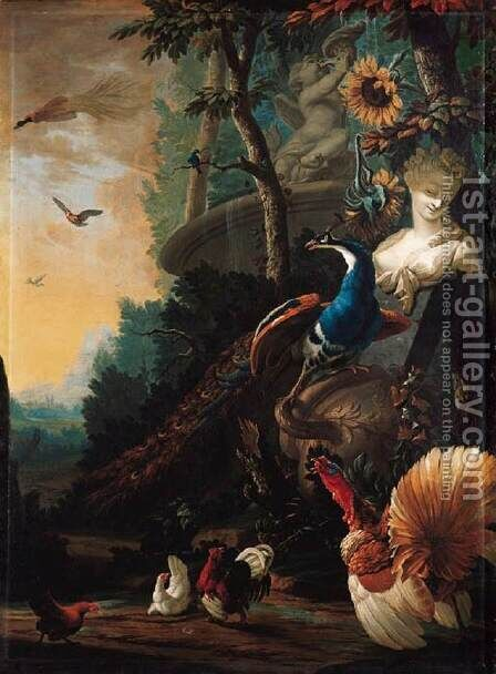 Peacock on a Fallen Vase by Abraham Bisschop - Reproduction Oil Painting
