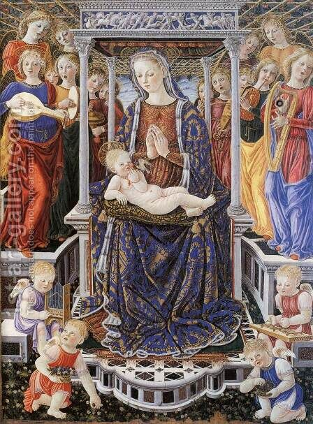 Madonna and Child Enthroned with Music-Making Angels by Giovanni Boccati - Reproduction Oil Painting