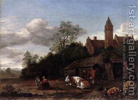 Barnyard Scene by Anthonie van BORSSUM - Reproduction Oil Painting