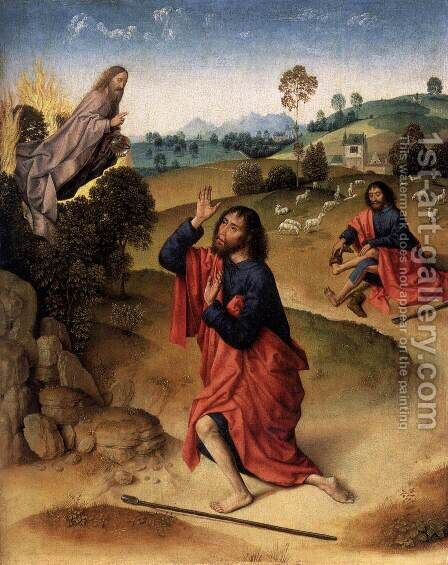 Moses and the Burning Bush by Dieric the Elder Bouts - Reproduction Oil Painting
