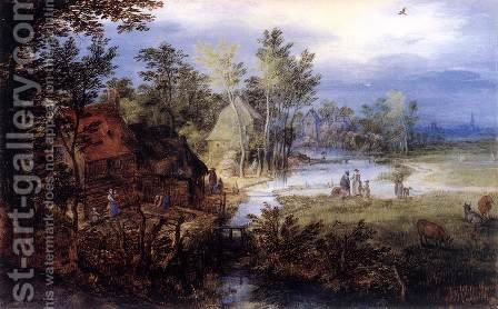 Village Scene with Figures and Cows by Jan The Elder Brueghel - Reproduction Oil Painting