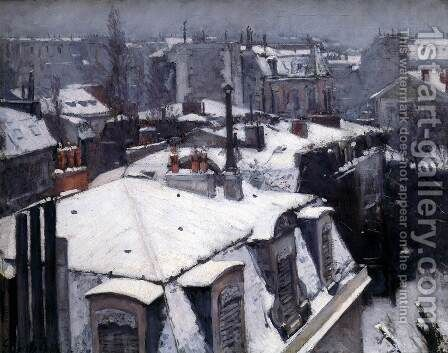 Snow-Covered Roofs in Paris by Gustave Caillebotte - Reproduction Oil Painting