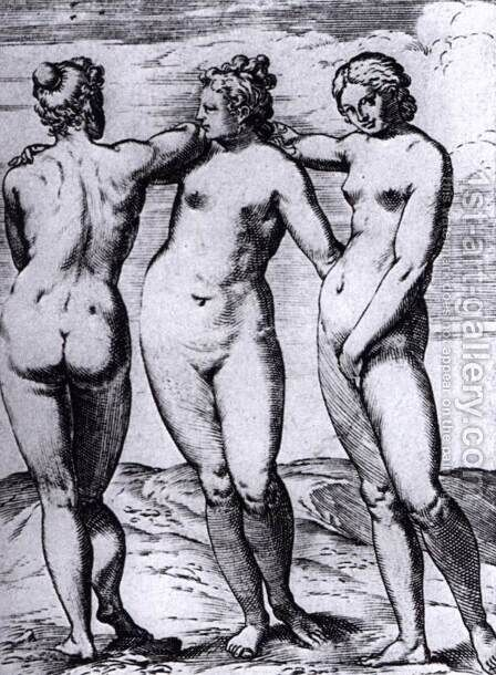 The Three Graces by Agostino Carracci - Reproduction Oil Painting