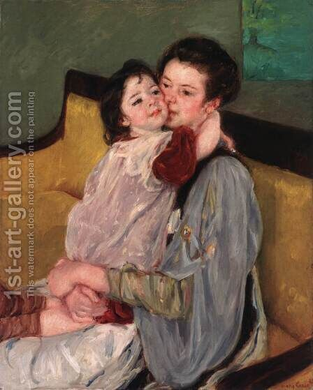 Caress Maternelle by Mary Cassatt - Reproduction Oil Painting