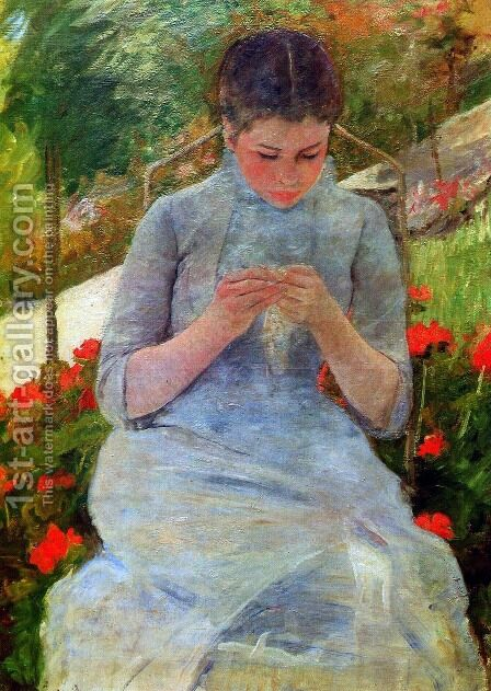 Woman with Needlework by Mary Cassatt - Reproduction Oil Painting