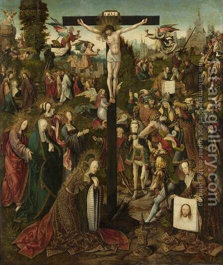 Crucifixion by Jacob Cornelisz Van Oostsanen - Reproduction Oil Painting