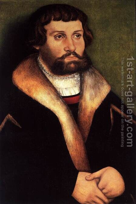 Portrait of a Bearded Young Man by Hans Cranach - Reproduction Oil Painting