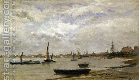 The Mouth of the Thames by Charles-Francois Daubigny - Reproduction Oil Painting