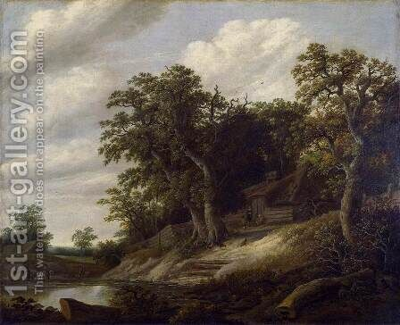 Cottage among Trees on Bank of Stream by Cornelius Decker - Reproduction Oil Painting