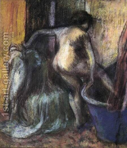 Nude Stepping into a Bathtub by Edgar Degas - Reproduction Oil Painting