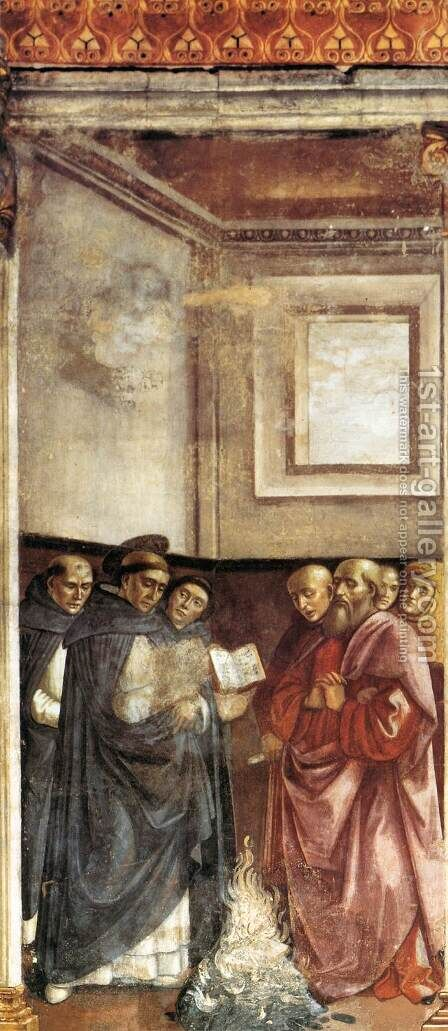 St Dominic Burning Heretical Writings by Domenico Ghirlandaio - Reproduction Oil Painting