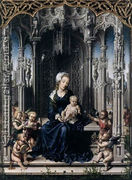Virgin and Child with Musical Angels by Jan (Mabuse) Gossaert - Reproduction Oil Painting
