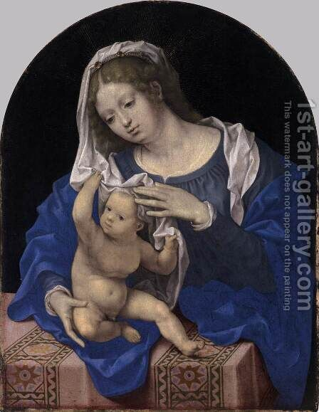Virgin and Child with the Veil by Jan (Mabuse) Gossaert - Reproduction Oil Painting