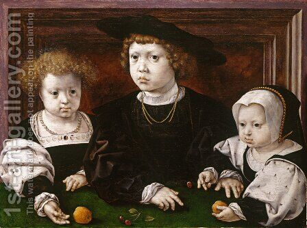 The Three Children of Christian II of Denmark by Jan (Mabuse) Gossaert - Reproduction Oil Painting