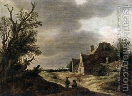 Sandy Road with a Farmhouse by Jan van Goyen - Reproduction Oil Painting